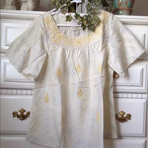 Sundance Catalog $138 silk floral embroidered top